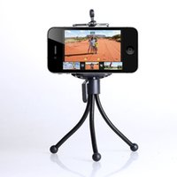 Wholesale Galaxy S3 Camera Stand - Wholesale-Mini Tripod Stand Mount Holder for Mobile Cell Phone Camera Galaxy S3 S4 Note 2 (Color: Black)