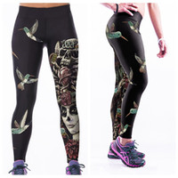 Wholesale Legging Pant Navy Women - Jogging Long Legging Breathable Workout Yoga Pants Fashion Woman 3D Print Trousers Sports High Waist Quick-Drying Birds Skull LNASlgs