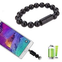 Wholesale Android Note3 - Micro USB Cable Mini Micro Bead Bracelet Wristband USB Sync Data Cable Charger For iPhone Android HTC Huawei Xiaomi Redmi Note3 pro