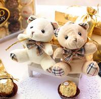 Wholesale Bear Wedding Bag - Bow Bear High 9CM Bear Favors Candy Boxes Bear Wedding Favor Candy Boxes Gifts Bags 30Pcs Lot 2016 May Wedding Style