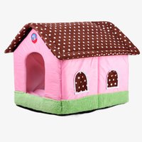 Wholesale cave beds for sale - Soft Warm PP Cotton Dog House Foldable Cat Bed Animal Cave Nest Puppy Dog Kennel Cute Pink Dot Pet Cat Dog House High Quality Sleeping Bag
