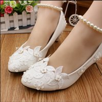 Wholesale anklet toe resale online - Manual white rural flower wind pearl anklets wedding shoes low with the bridesmaid shoes with high heels bride photo single woman shoes