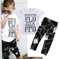 Wholesale Toddler Pants Sale - hot sale baby boys suit 2pc Toddler Kids Baby Boy girl casual set white T shirt+long Pants tracksuits Summer pretty letter printed Outfits