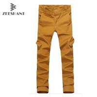 Wholesale Sport Cargo Pants For Men - Wholesale-Plus Size Big Pockets Cargo Pants Pure Color Long Pants for Men's Cargo Pants Warm Outdoor Sports Baggy Pants Cotton Trousers
