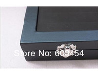 Wholesale Glass Ring Display Case - 49 Pair glass top Cufflinks Storage Case DISPLAY Box Black wood