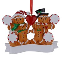 Wholesale Personalized Family Ornament - Wholesale Resin Gingerbread Family Of 4 Christmas Ornaments With Red Apple As Personalized Gifts For Holiday