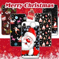 Wholesale iphone snowman - Merry Christmas Case Santa Claus Elk Snowman Coloured Drawing Printing Painting Soft TPU Clear Transparent Cover For iPhone X 8 7 Plus 6 6S