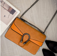 Wholesale Designer Bags Orange - suede bags handbags women famous brands snake head bag luxury designer leather handbag chian shoulder crossbody bag vintage sac