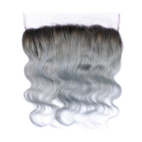Silver Grey Ombre Lace Frontal Closure 1B / Grey Two Tone Body Wave Virgin Brazilian Hair 13x4 Ear to Ear Full Pied de dentelle Frontal Pieces
