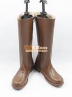 Wholesale Shinsengumi Cosplay - Wholesale-Hakuouki Shinsengumi Kitan Toudou Heisuke pu leather ver cos Cosplay Shoes Boots shoe boot #JZ526 anime Halloween Christmas