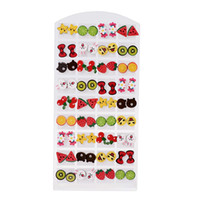 36 Pairs / Set Mixed Styles Cartoon Pattern Stud Earrings Handmade Polymer Clay Brincos de Natal para meninas Jóias infantis