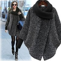 Wholesale Europe Winter Coat - Winter Europe Women's Tweed Coat Knitted Lapel Collar Warm Outwear Coat Lady's Overcoat Woolen Coats Black Gray C2323