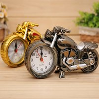 Wholesale Motorcycle Clock Alarm - Motorcycle Desk Clock Modern Fashion Quartz Alarm Clock Home Decoration Gifts Cool Retro Deisgn for Boys