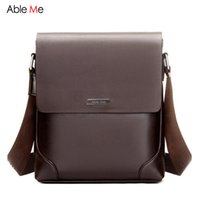 Atacado- Ableme Business Men's Leather Messenger Bag Multifuncional Shoulder Bag Set Vertical Homens Crossbody Shoulder Bag para ipad Handbag