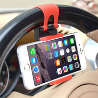 Wholesale Cellphone Flexible - Universal Car Steering Wheel Cradle Cellphone Holder Clip Car Bike Mount Stand Flexible Holder extend to 86mm Free shipping + Gift