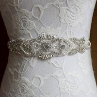 Wholesale Belt Headband Pearl - Wholesale- Handmade Pearl Designers Luxury Female Floral Dress Women Belts High Quality Diamond Waistband Girdle Headband for Wedding Party