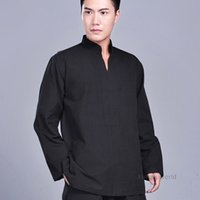 xxl kung fu jacke großhandel-Wholesale-100% Baumwolle Wushu Kung Fu Jacke Zen buddhistischen Mönch Meditation Anzug Tai Chi Top Kampfsport Uniformen