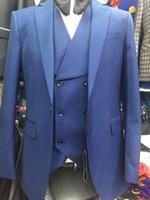 Wholesale Cheap Slim Men Vest - Handsome Royal Blue Men Wedding Suits Slim Fit Bridegroom Tuxedos Cheap Groomsmen Suit Formal Business Suits (Jackets Vest Pants)