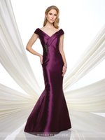 Wholesale Beaded Dress Motif - 2016 Portrait mermaid dress with pleated cap sleeves pleated crisscross V-neckline finished with hand-beaded motif sweep train