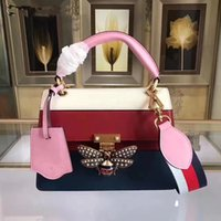 Wholesale Queen Soft - 2017 New Fashion woman designer bags star same style queen Margaret genuine leather handbags pink handle bee lock famous brand
