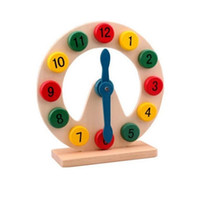 детские часы оптовых-Деревянные блоки игрушки цифровой геометрии часы игрушки Детские Монтессори образовательные игрушки для мальчика девочка подарок