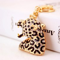 Moda Leopard Head Keyrings Para Mulheres Brand Design Bags Charm Animal Keychains Full Diamond Key Ring Wholesale