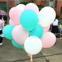 décoration anniversaire vert achat en gros de-60 Pcs 10 Pouces Mixte Menthe Vert Rose Blanc Latex Ballons De Mariage Bébé Fille Douche Fête D'anniversaire Décoration