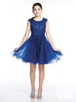 2016 Scoop Appliques In Rilievo Tulle Pizzo Una Linea di Lunghezza Del Ginocchio Puffy Navy Flower Girl Dress Vestido De Formatura Das Criancas HY1314