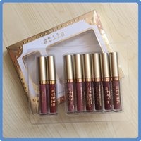 labios de belleza huda al por mayor-¡En stock! Stila plagado de estrellas Eight Stay Days Liquid Lipstick set 8pcs caja Larga duración Cremoso Shimmer Liquid Lipstick Dropshipping