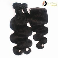 Wholesale Same Length Brazilian Hair - 8A 100% Brazilian Hair Bundles 10-28inch 3Pcs Same Length Hair Weave With 1pc Lace Closure Body Wave Natural Black Human Hair Extension