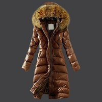 Wholesale Xl Women Down Cape - Women Long Jacket Puffer Duck Down Fur Collar Hoodie Cape Anorak Ladies Parka Fashion Female Coats