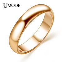 Wholesale Polish Rose Ring - UMODE For Man and Woman 18K Rose Gold Plated High Polish Wedding band Classic rings JR0097A