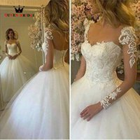 Wholesale Long Elegant Floral Dresses - Custom Made Long Sleeves Lace Tulle Floor Length Free Shipping Elegant Ball Gown Wedding Dresses ZQ6