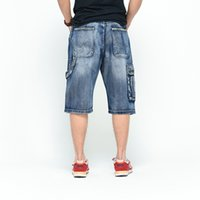 Wholesale America Skate - Wholesale-Euro&America Style Brand Mens Cropped Demi Jeans For Men Big Size Man Baggy Half Knee Length Summer Short Hip Hop Skate Jeans