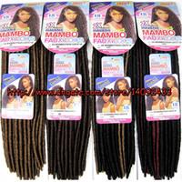 Wholesale Mambo Mix - 2x mambo fauxlocs dread crochet hair extension 18inches 100% kanekalon fiber 24strands per pack soft dread3packs lot free shipping