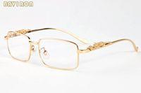 ingrosso bicchieri di telaio chiaro di leopardo-con scatola 2019 occhiali da sole moda oro argento lega metallo leopardo telaio uomo donna corno bufalo occhiali lenti chiare occhiali da sole