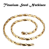 Wholesale china steel collar - Mens Simple Jewelry Collar Joyas Titanium Steel High Polished Men Fashion Chains Necklace Gold 60cm 0.3cm 0.4cm 0.5cm