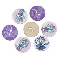 Wholesale Dragonfly Painting - 2016 Round Painted Lavender Dragonfly Wood Button 24mm 2 Holes Fit Sewing Craft Clothes Accessories Decoration 50pcs Lot I295L