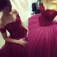 Wholesale Cheap Short Red Quinceanera Dresses - 2016 Cheap Vintage Burgundy Quinceanera Ball Gown Dresses Sweetheart Lace Appliqued Tulle Long Sweet 16 Cheap Party Dress Prom Evening Gowns