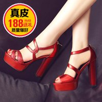 Wholesale T S Shoes - Sheepskin leather thick with sandals female in the summer of 2016 the new high root package with students waterproof red wedding shoe lady s