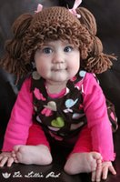 Wholesale Baby Girl Hats Wig - new Girl Wig Hat , handmade Crochet Baby Girls Wigs Cabbage Patch Hat , Newborn Beanie caps Photographic prop - Dark brown