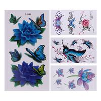 3d dövmeler geçici gövde çıkartmaları toptan satış-10 adet / takım 3D Kelebek Çiçek Geçici Dövme Vücut Çıkartmalar Su Geçirmez Vücut Sanatı Dekorasyon Geçici Dövme Çıkartma