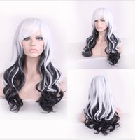 Wholesale Cosplay Lolita Wigs White - Western Charming Mixed White Black Wig Curly Cheap Ombre Wigs For Womens Heat Resistant Synthetic Wigs Cosplay Lolita Wig Long