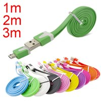 Wholesale Cellphones Lenovo - 3m 2m 1m V8 Micro cable Flat Data Sync USB Charging Cable Noodle cable for all cellphone LG samsung s3 s4 s5 galaxy note 3 4 lenovo CAB004