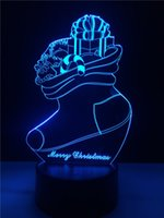 Wholesale Touch Socks - Christmas socks 3D LED Night Light 7 Color Dimming illusion Bedroom Lamp Holiday Light Child Kids gift