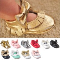 Wholesale Cheap Colored Shoes - Pretty bows baby PU toddler shoes candy-colored cheap kids soft bottom shoes 0-18 months girls spring & autumn shoes 12pair 24pcs B12