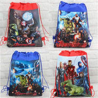 Wholesale character school bags for boys - 36pcs The Avengers Children School Bag Cartoon Kids Drawstring Backpacks for boys children Swimming Bags beach Hiking Travel backpack