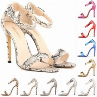 Wholesale Sexy Red Leather Dress Design - Chaussure Femme Sexy Commute Temperament Summer Brand Design Alligator Snake Skin Party Shoes High Heels 10 Colors Big Size 35-42 D0015
