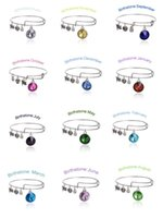 Wholesale Wholesale Girls Thanksgiving Sets - Fashion Girls Bracelet Birthstone Crystal Pendant of 12 Months Bracelets Charm Wiring Expandable Bangles Birthday Gift