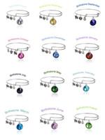 Wholesale Green Girls Set - Fashion Girls Bracelet Birthstone Crystal Pendant of 12 Months Bracelets Charm Wiring Expandable Bangles Birthday Gift